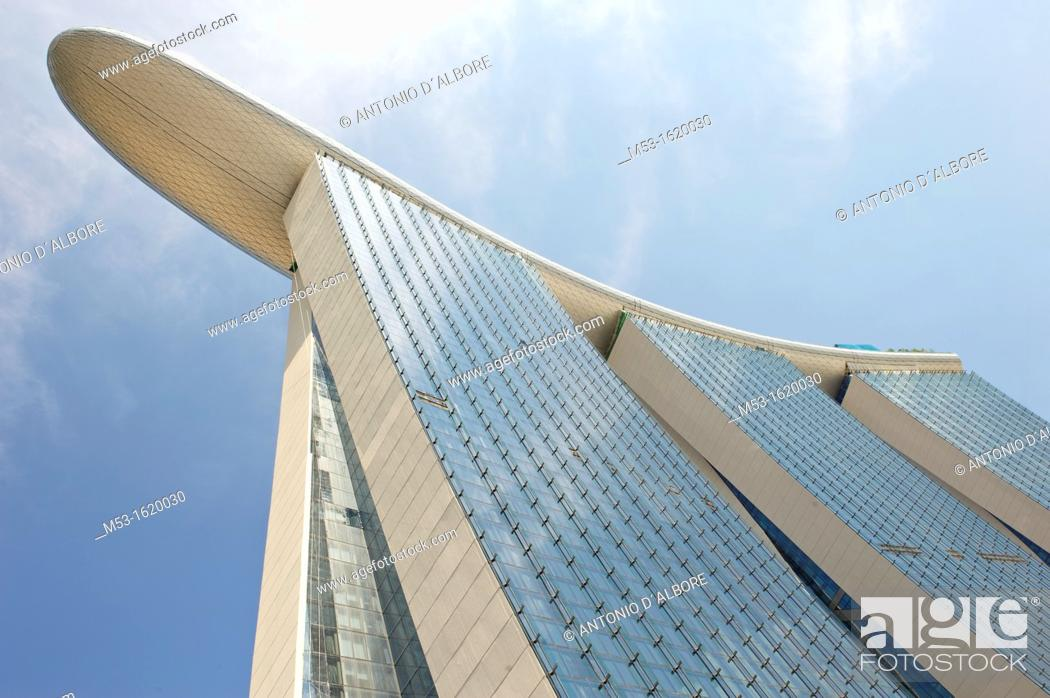 Stock Photo: View from below of Marina Bay Sands Hotel  The hotel is part of Marina Bay Sands an integrated resort that include also casino.