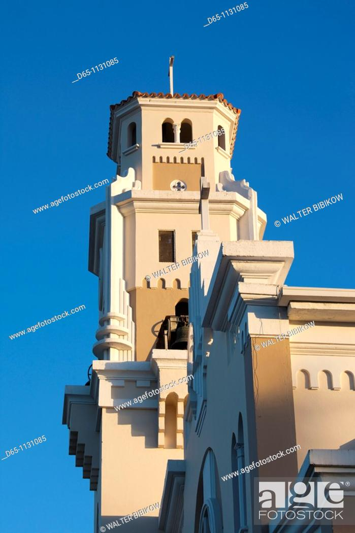 Stock Photo: Puerto Rico, South Coast, Yauco, Iglesia Catolica Nuestra Senora del Rosario church.