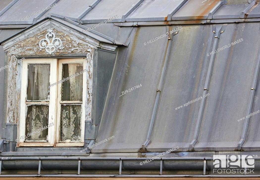 Stock Photo: Attic window in rooftop room, Paris, France, Europe.
