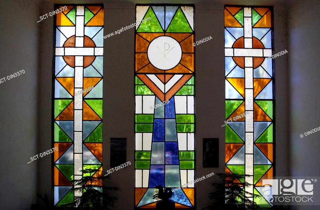 Stock Photo: Stained Glasses , Pastoral Institute Of St. Pius X , UNESCO World Heritage Site , Old Goa , Velha Goa , India.