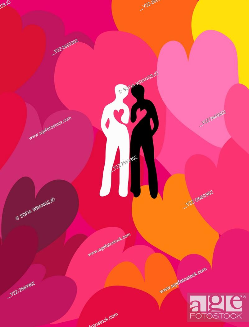 Stock Photo: A black and a white silhouette of a human leaning against each other. Hearts connected. Surrounded by a large heart pattern. Retro style.