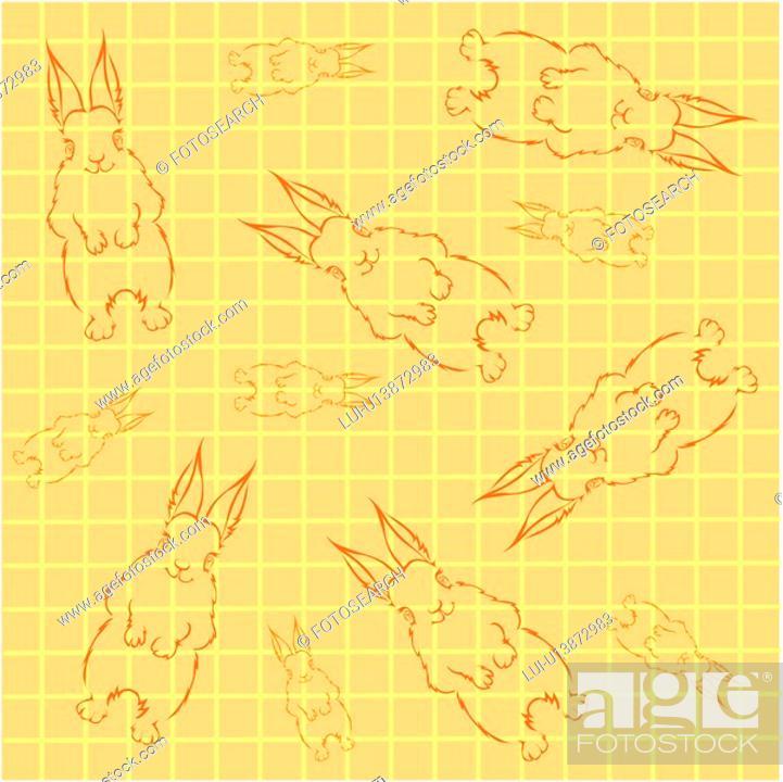 Stock Photo: design arts, wallpaper, indoors, background, rabbit, decorative art, pattern.
