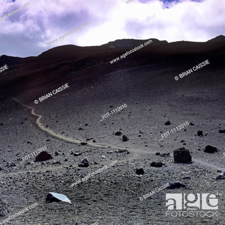Stock Photo: A trail in the Haleakala National Park.
