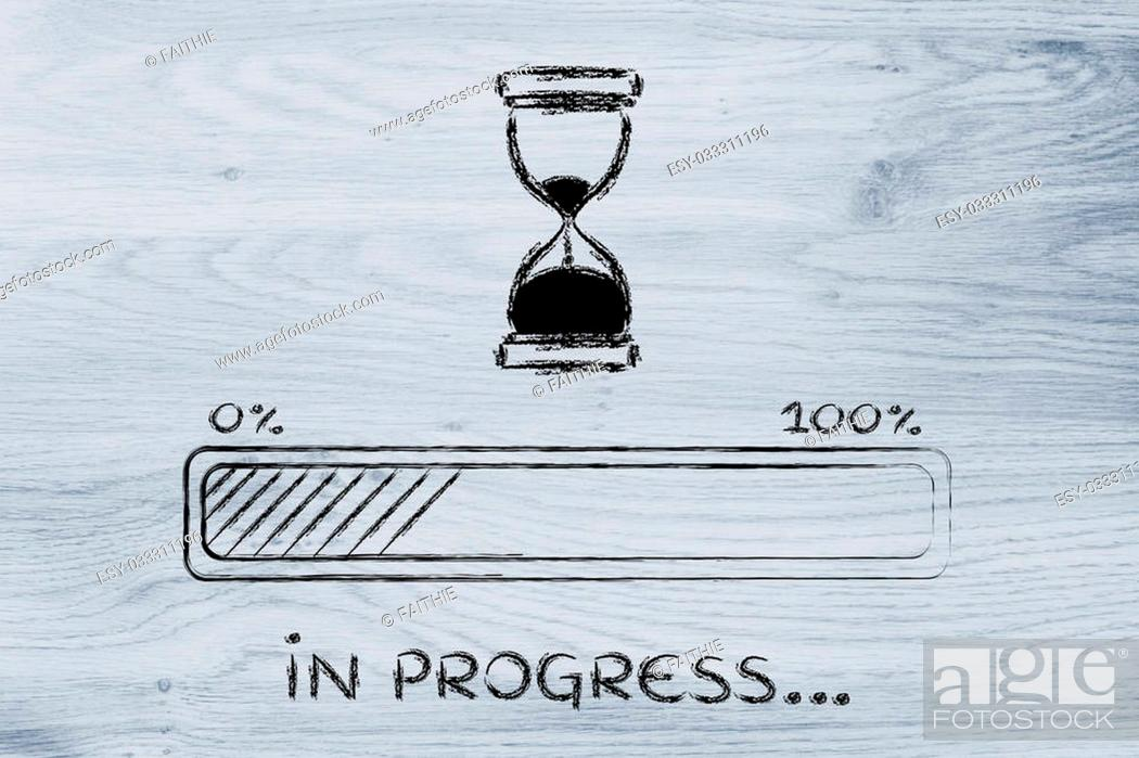 Stock Photo: hourglass design and progress bar loading, pc process in progress.
