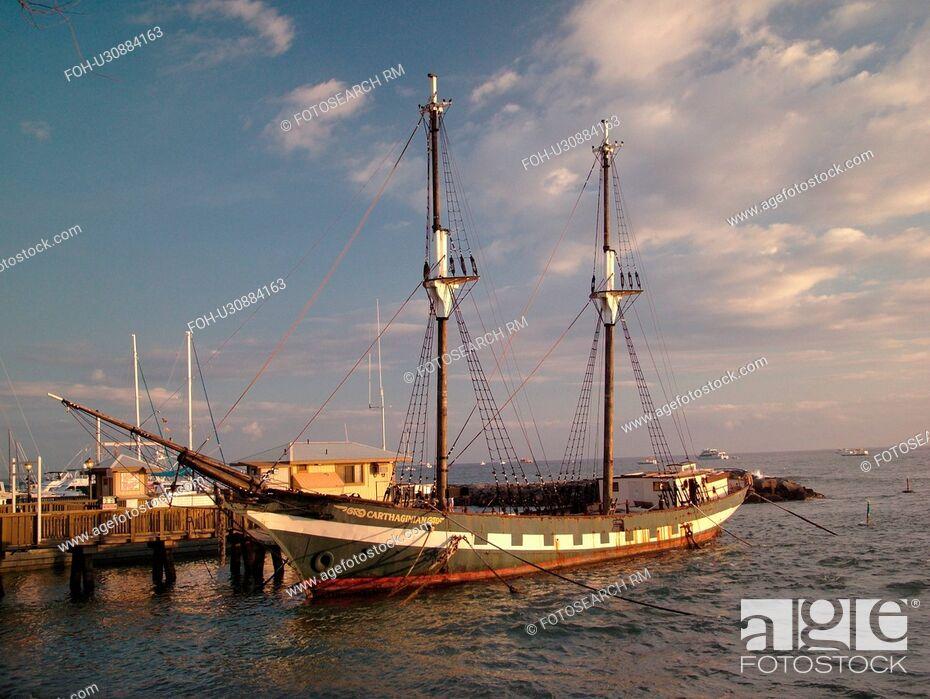 Stock Photo: Lahaina, Maui, HI, Hawaii, West Maui, Lahaina Harbor, Carthaginian, old whaling ship.