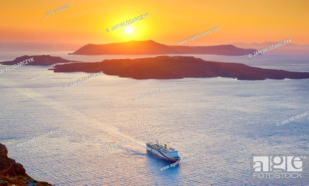 Stock Photo: Nea Kameni and Thirasia - viev from Santorini Island, Cyclades, Greece.