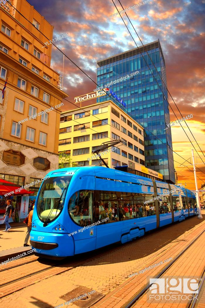 Stock Photo: Modern tram in the Square of Ban Josip Jelacic, Zagreb, Croatia.