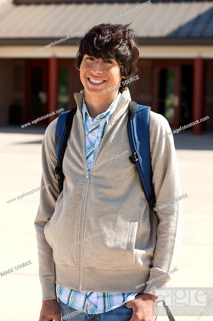 Stock Photo: Portrait of male high school student.