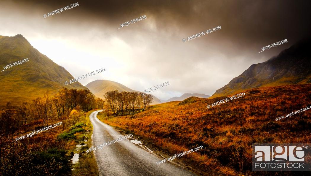 Stock Photo: The single track road down Glen Etive leading to Loch Etive, Highlands of Scotland.