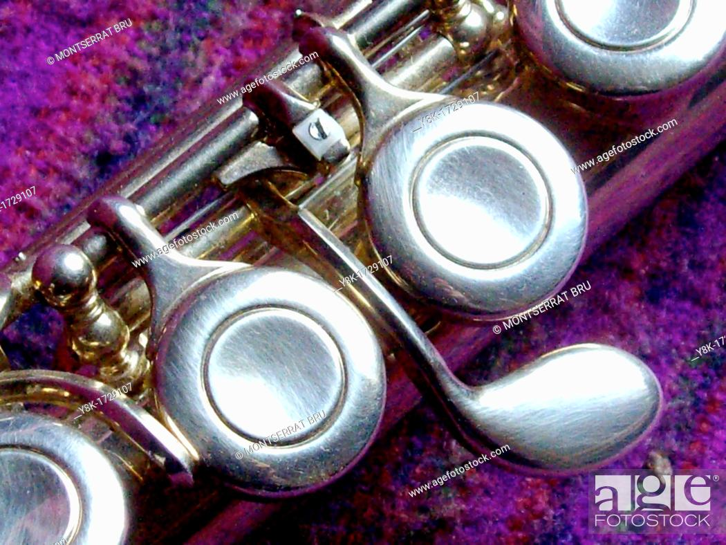 Stock Photo: Transverse flute keys closeup, music instrument.