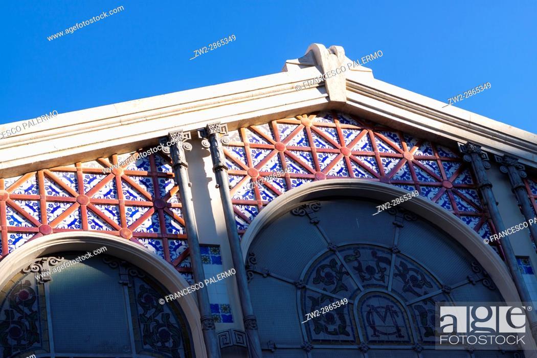 Stock Photo: Facade of the modernist Mercat Central market at sunrise. Valencia, Spain.