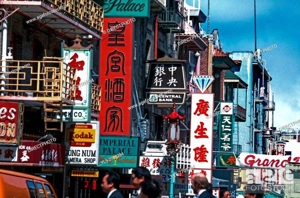 Stock Photo: San Francisco, CA, Street Scene in Chinatown Area. Chinese Business Signs.