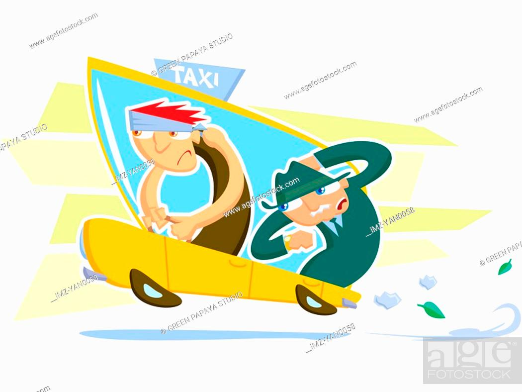 Stock Photo: A drawing of a taxi driver and a businessman.