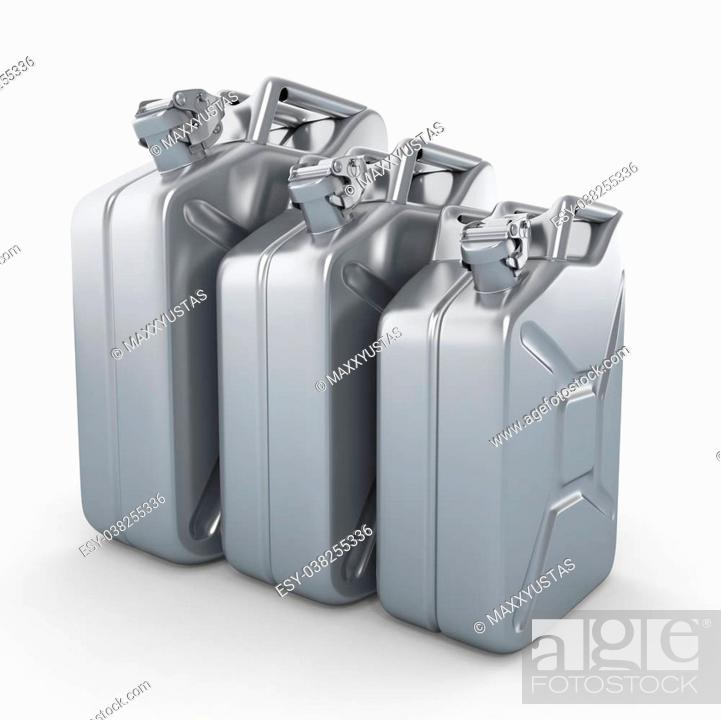 Stock Photo: Three aluminium jerrycans. Gasoline can on white background. 3d.