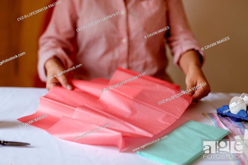 Stock Photo: Cropped hands preparing craft material during quarantine.