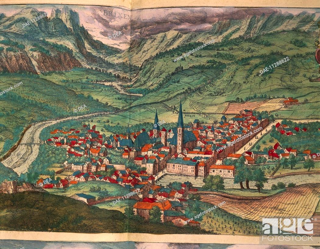 Stock Photo: Cartography, 16th century. The City of Bressanone. From Civitates Orbis Terrarum by Georg Braun (1541-1622) and Franz Hogenberg (1540-1590), Cologne.