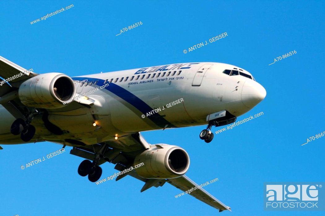 Stock Photo: El Al Israel Airlines Boeing 737-300.
