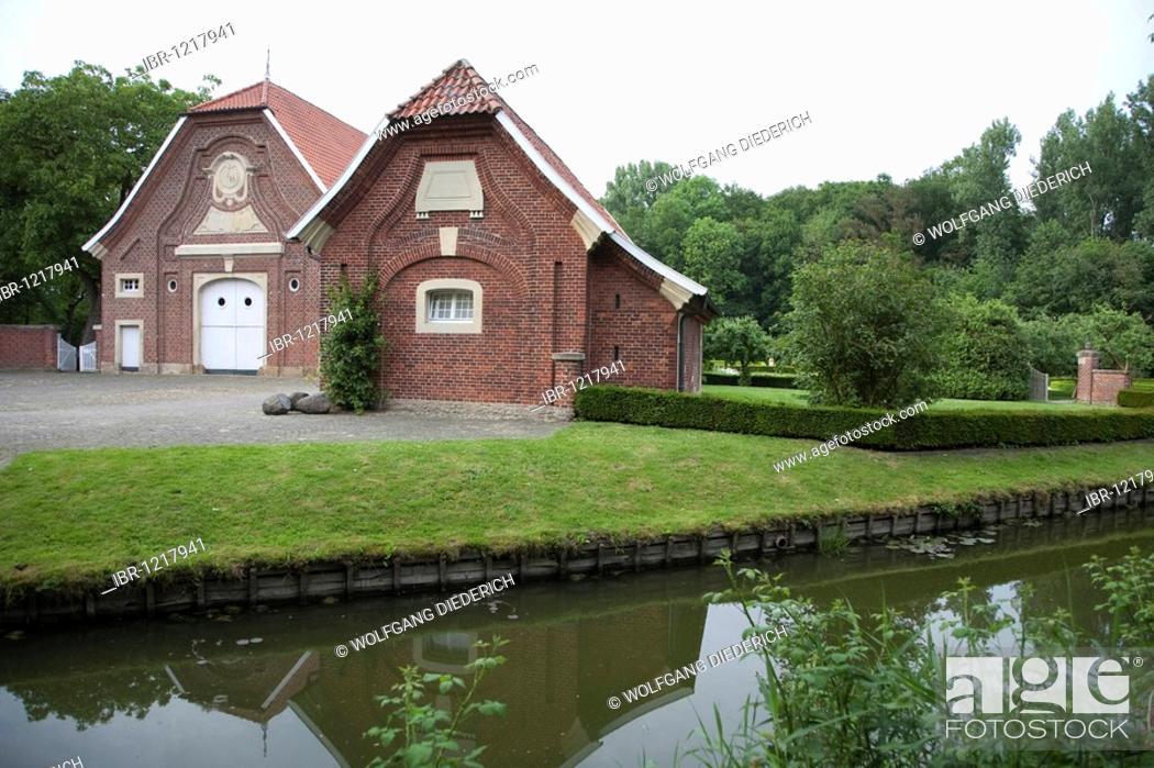 Stock Photo: Rueschhaus house, home of the family Droste-Huelshoff, Muenster, Muensterland region, North Rhine-Westphalia, Germany, Europe.