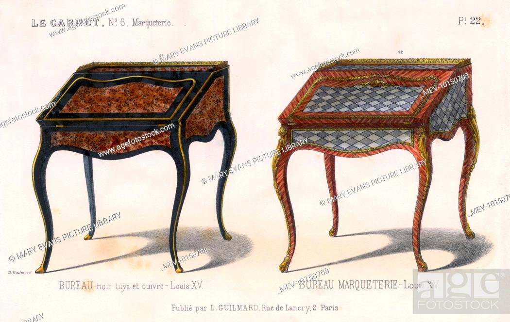 Two french bureaus in the louis xv style one in wood and copper