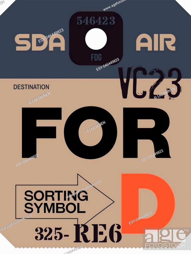 Vector: Vintage Luggage Tag. Real looking airport luggage tag.