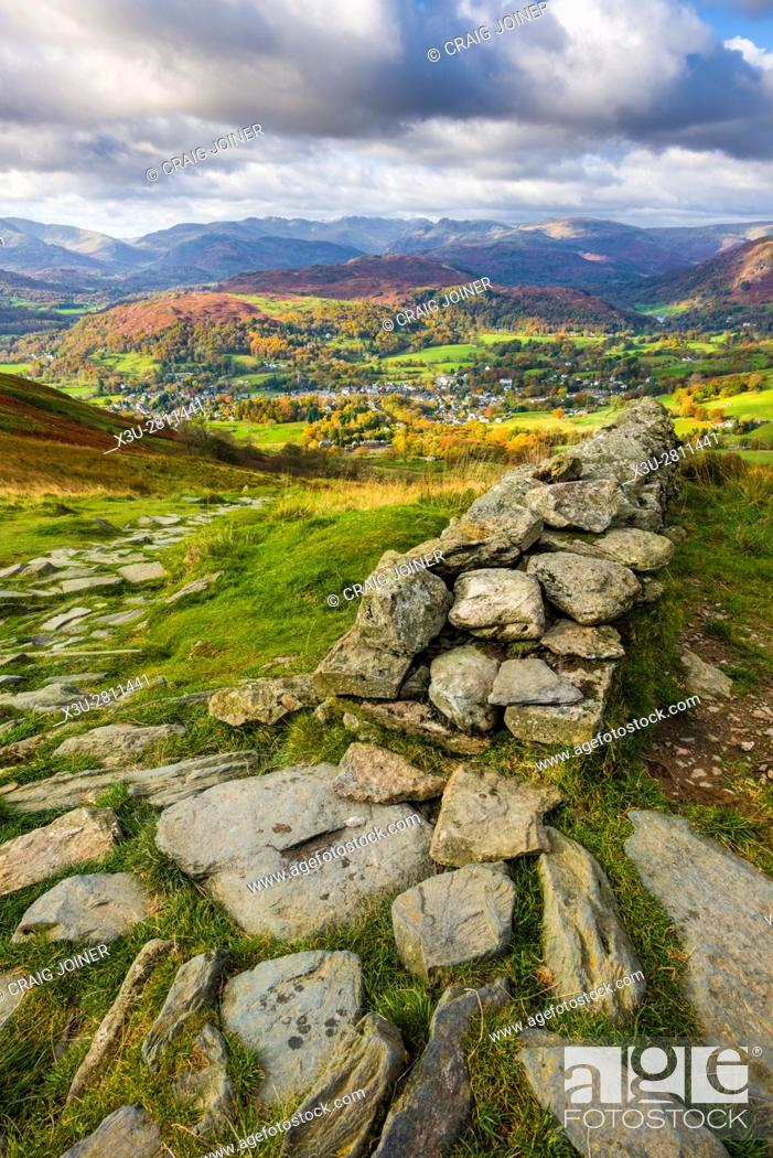 Stock Photo: View from Wansfell over Ambleside and Loughrigg Fell beyond in the Lake District National Park, Cumbria, England.
