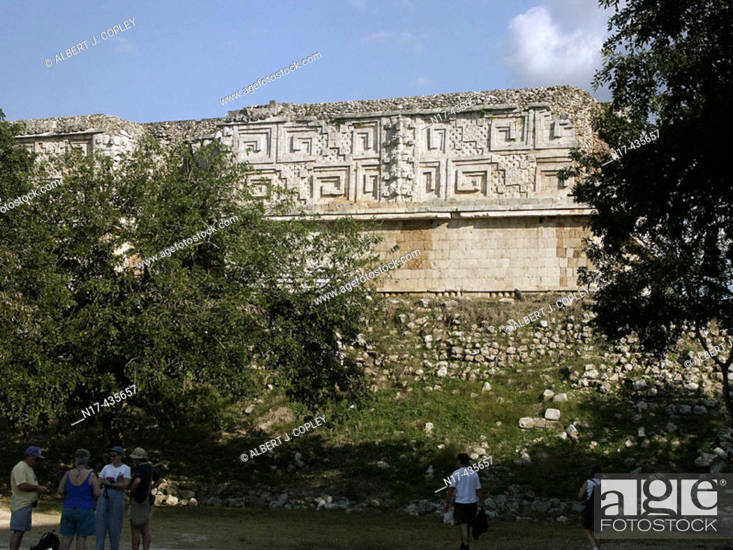 Stock Photo: The Governor's Palace in Uxmal, Pre-Columbian ruined city of the Maya civilization (late Classic period 600 - 900 A.D.). Yucatan, Mexico.