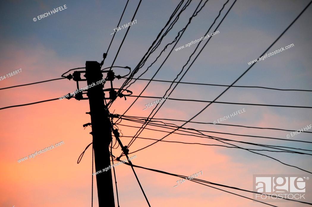 Stock Photo: Thai power lines.