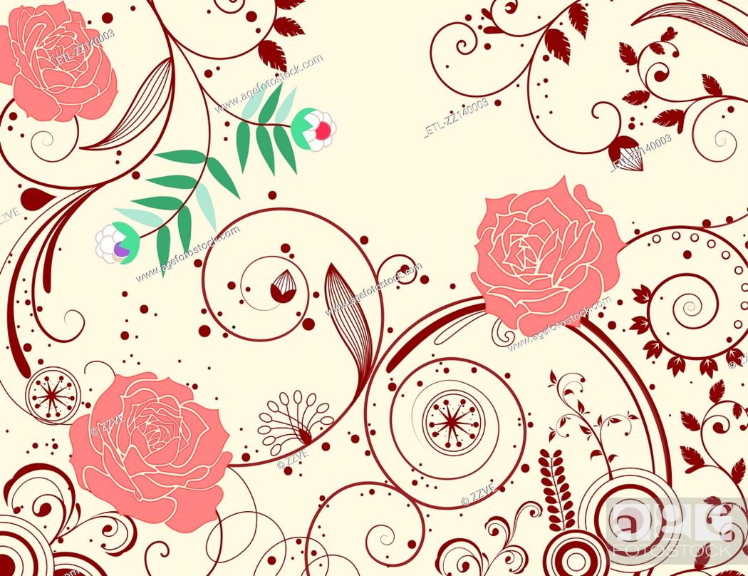 Stock Photo: Rose pattern.