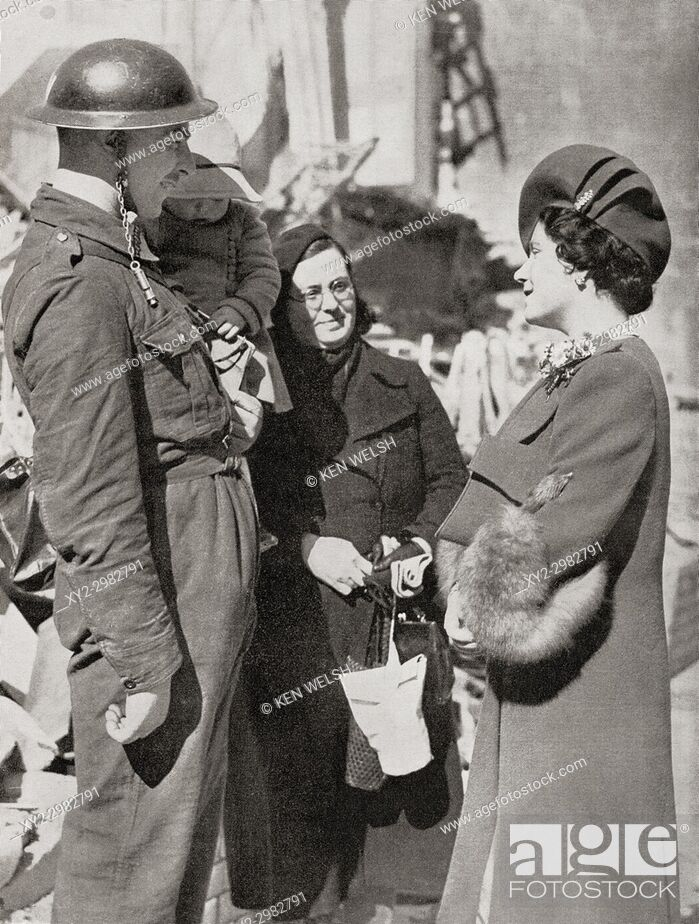 Stock Photo: Queen Elizabeth visiting Britain's bombed towns during WWII, seen here in Plymouth. Queen Elizabeth, The Queen Mother. Elizabeth Angela Marguerite Bowes-Lyon.