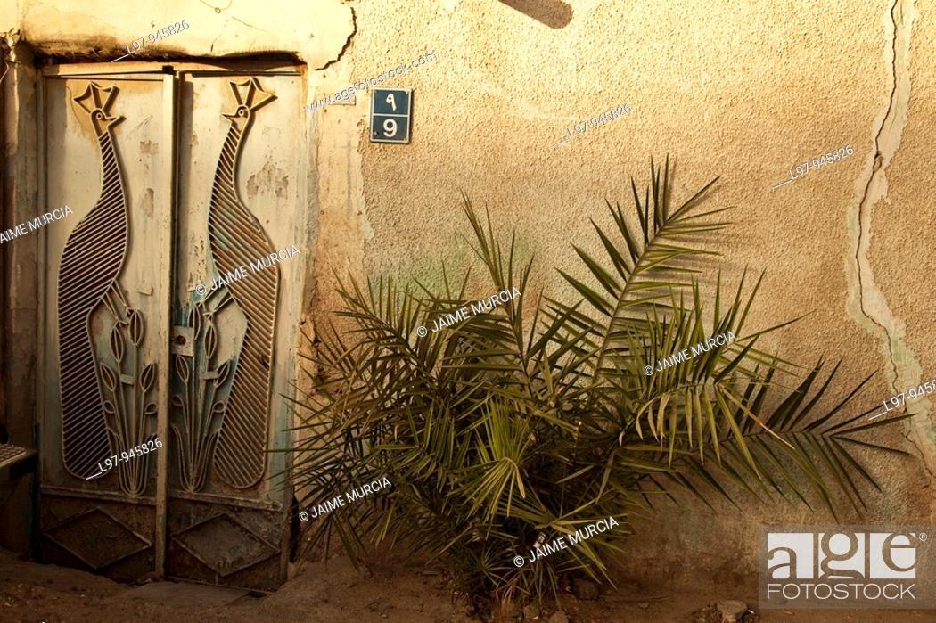 Stock Photo: Old rustic entrance Doha, qatar.