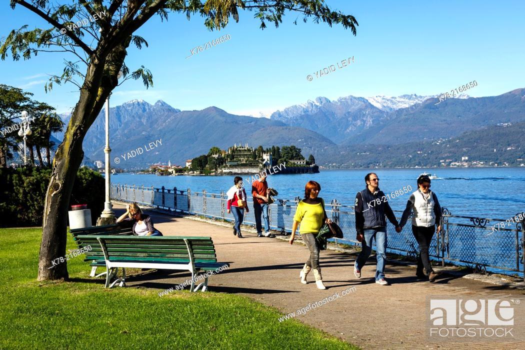 Stock Photo: View over Isola Bella, Borromean Islands, Lake Maggiore, Piedmont, Italy.