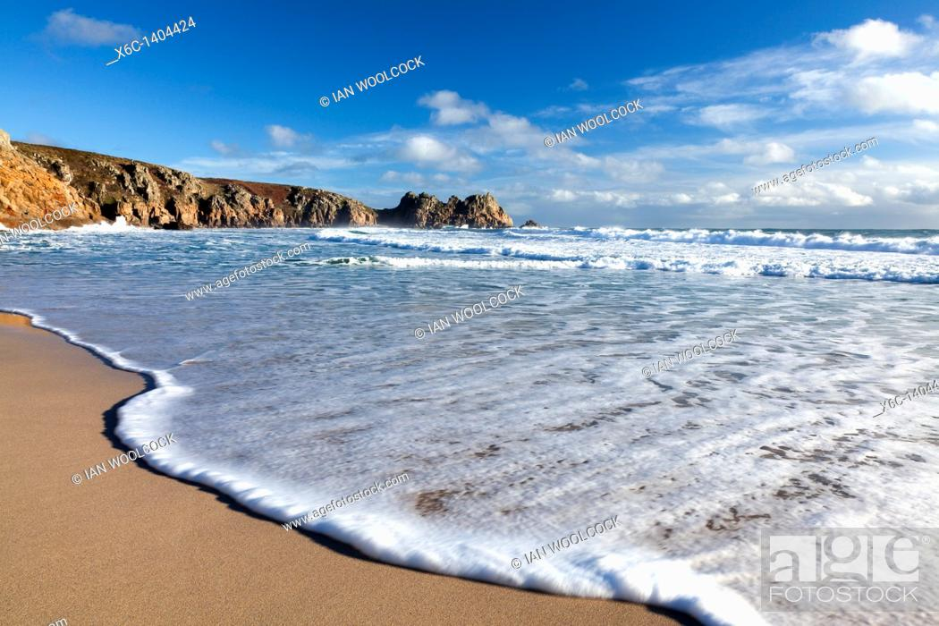 Stock Photo: Waves on the beach at Porthcurno Cornwall England UK 2011.