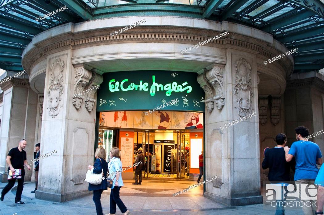 Stock Photo: El Corte Ingles department store in Avenida Portal de L' Angel, Barcelona, Catalonia, Spain.
