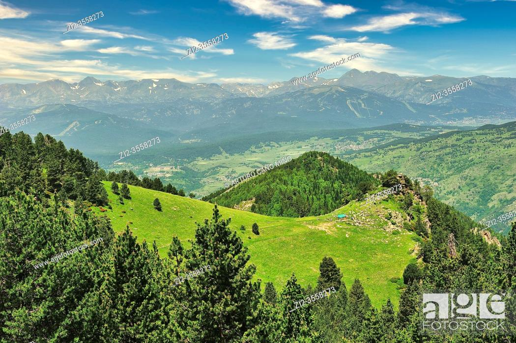 Stock Photo: The Catalan Pyrenees Regional Natural Park in the French Pyrenees. Pyrénées-Orientales department, France.