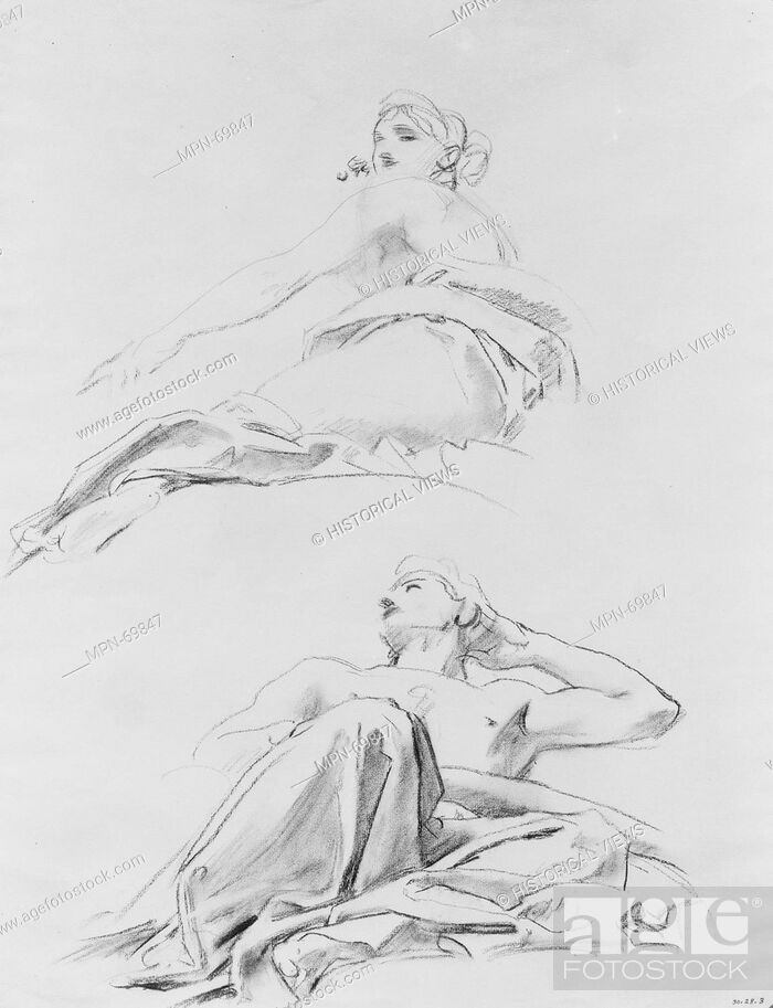 Imagen: Reclining Figures. Artist: John Singer Sargent (American, Florence 1856-1925 London); Date: ca. 1916-21; Medium: Charcoal on white laid paper; Dimensions: 24.