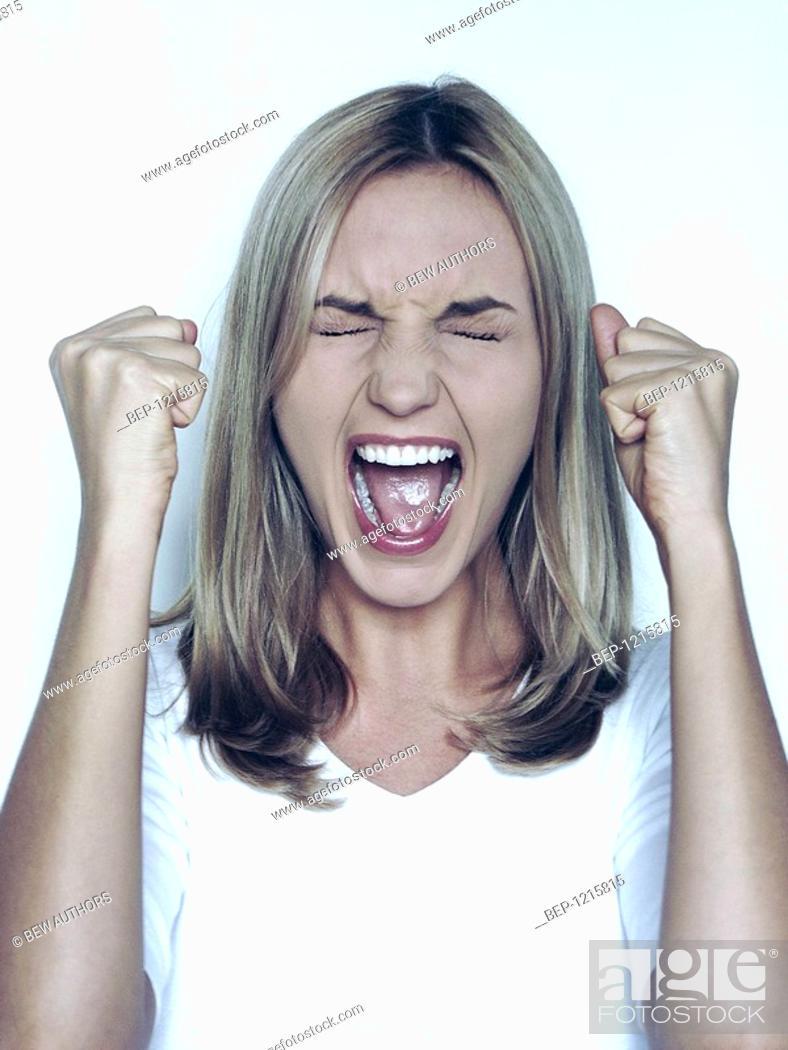 Stock Photo: Screaming woman.