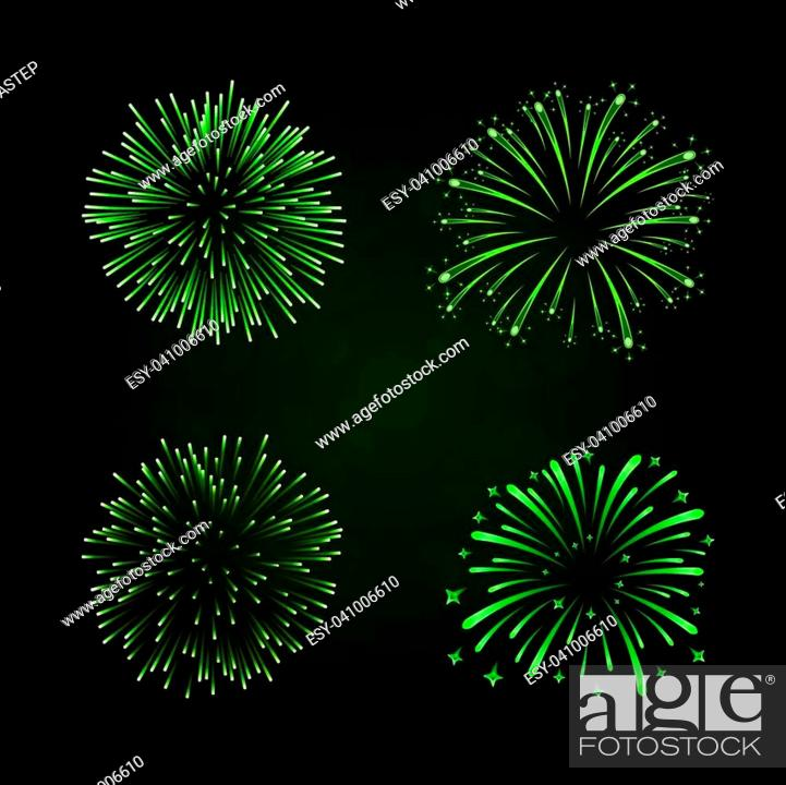 Stock Vector: Beautiful green fireworks set. Bright fireworks isolated black background. Light green decoration fireworks for Christmas, New Year celebration.