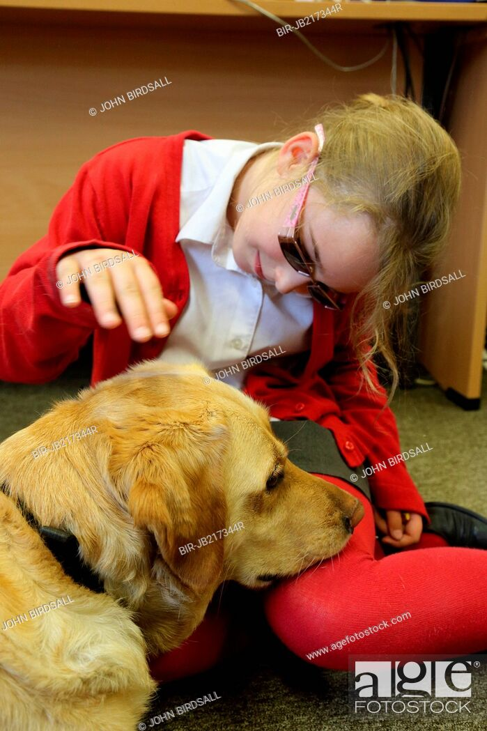 Imagen: Portrait of young girl with visual impairment, and guide dog, Mysight Nottingham.