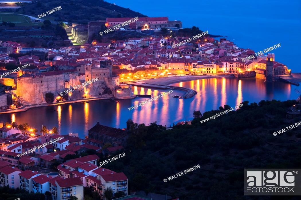 Stock Photo: France, Languedoc-Roussillon, Pyrennes-Orientales Department, Vermillion Coast Area, Collioure, town overview, dawn.