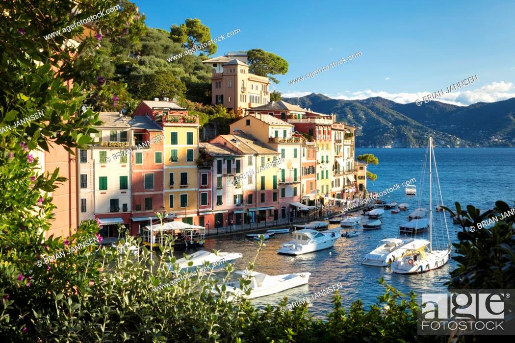 Stock Photo: Early morning view over harbor town of Portofino, Liguria, Italy.