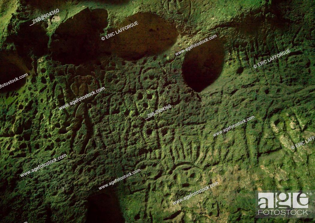 Stock Photo: Petroglyphs carved in a cave, Malampa Province, Malekula Island, Vanuatu.