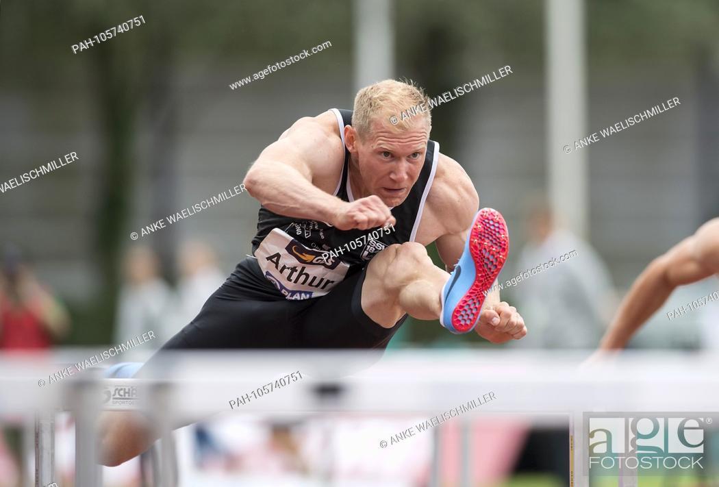 Stock Photo: Arthur ABELE (GER / SSV Ulm 1846), action, 110m hurdles of the men, on 17.06.2018 Athletics Stadtwerke Ratingen all-around meeting, from 16.06. -17.06.