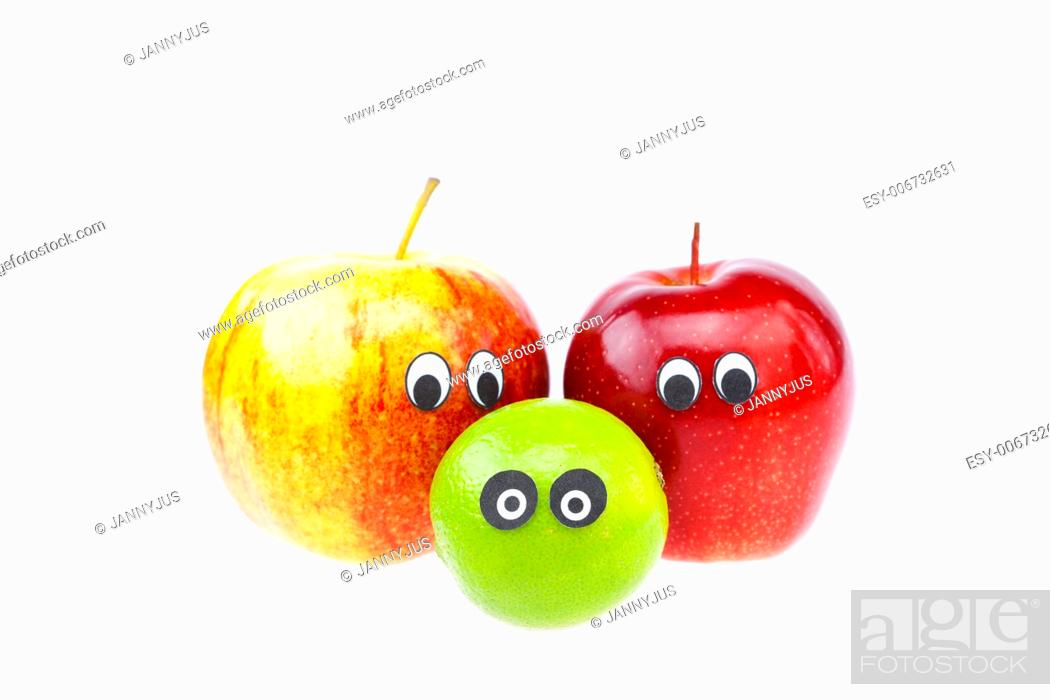 Imagen: Fruit with a person joy isolated on white.