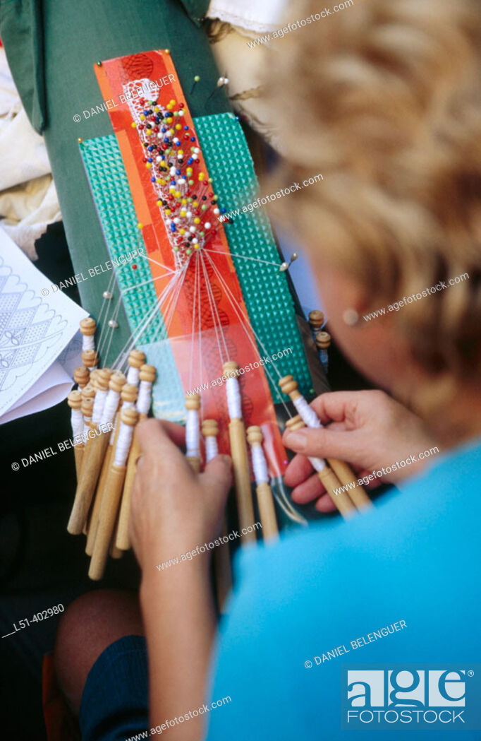 Stock Photo: Woman lacemaking. Plaza Redonda. Valencia. Spain.