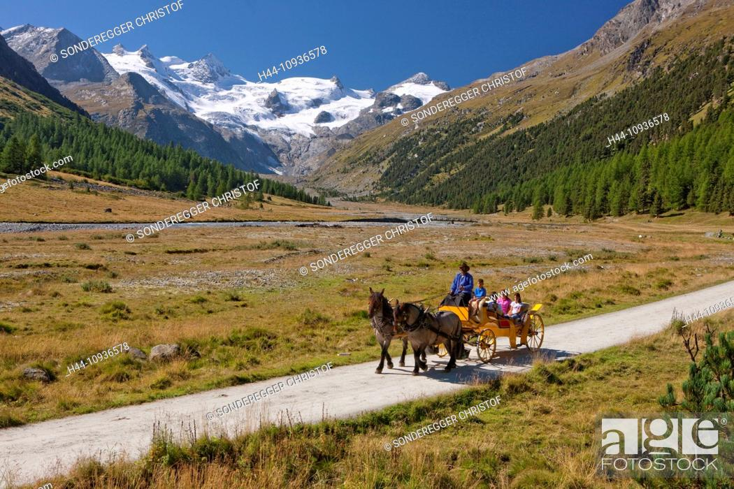 Stock Photo: Horse coach, Val Roseg, nature, canton, GR, Graubünden, Grisons, horse, coach, car, carriage, horse car, Switzerland, Europe, family, glacier.
