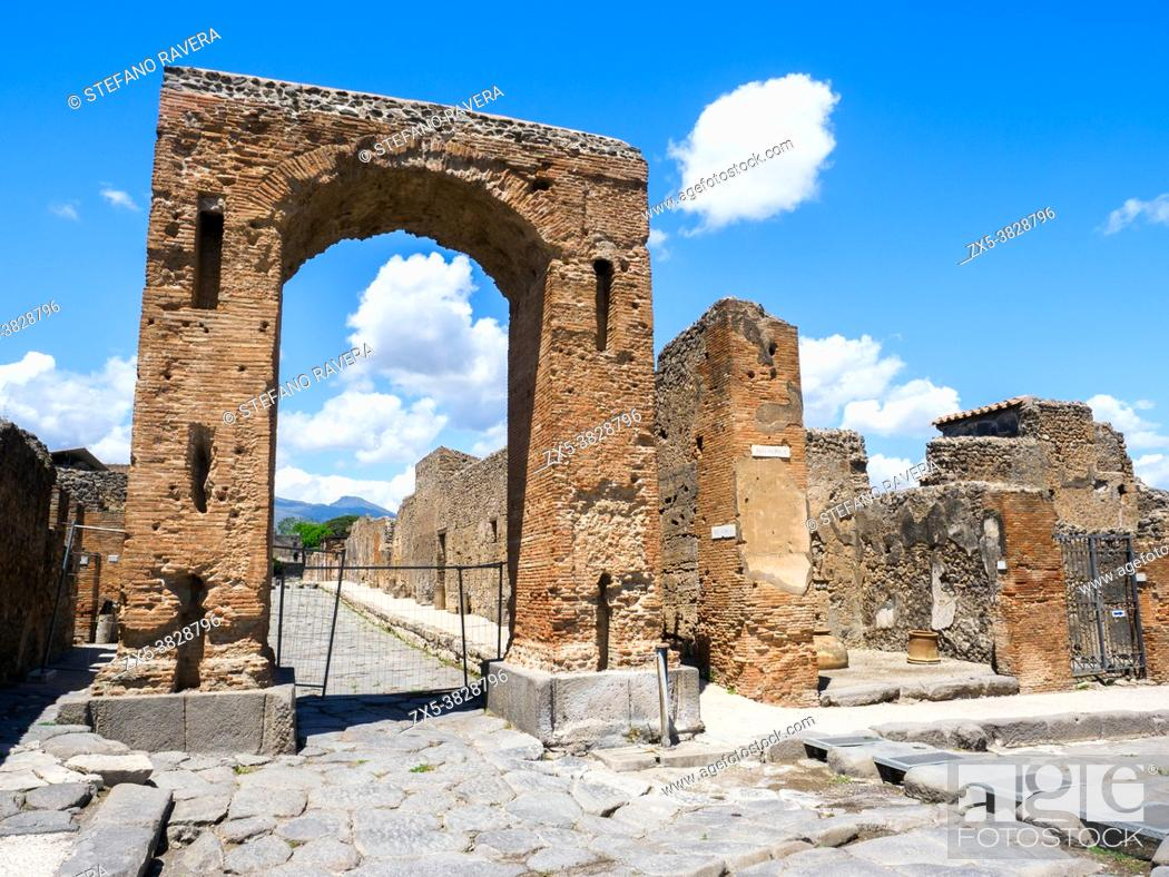 Stock Photo: Honorary arch of Caligula - Pompeii archaeological site, Italy.