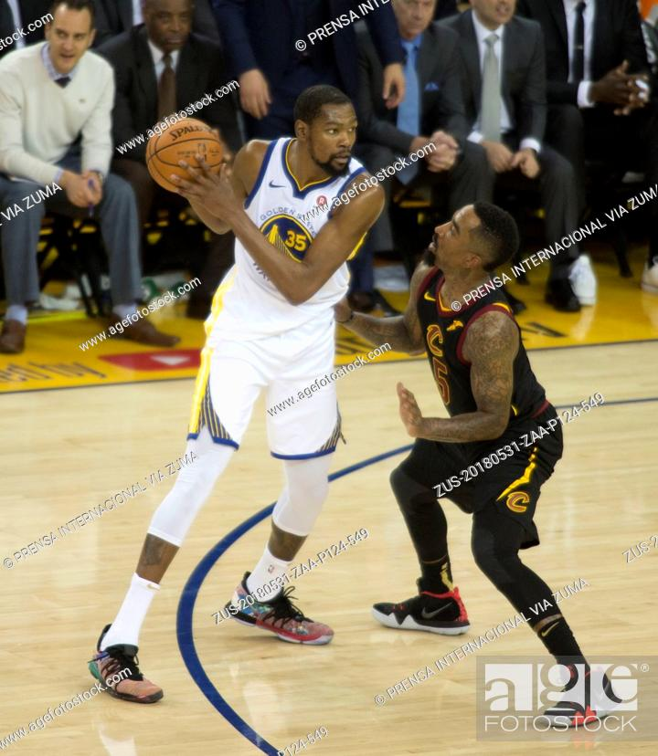 Stock Photo: May 31, 2018 - Oakland, California, U.S - Kevin Durant #35 of the Golden State Warriors during their NBA Championship Game 1 with the Cleveland Cavaliers at.
