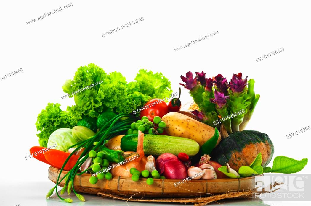 Stock Photo: Vegetables - cabbage, tomato, cucumber, onion, lettuce and so on.