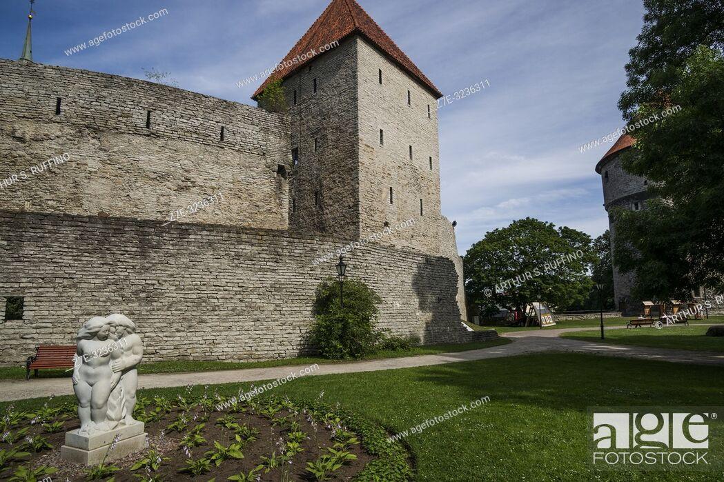 Stock Photo: Maiden's Tower (Neitsitorn), archery range, and Peek in the kitchen (Kiek in de Kök) Tower, Tallinn's City Walls, Old Town, Tallinn, Estonia, Baltic States.