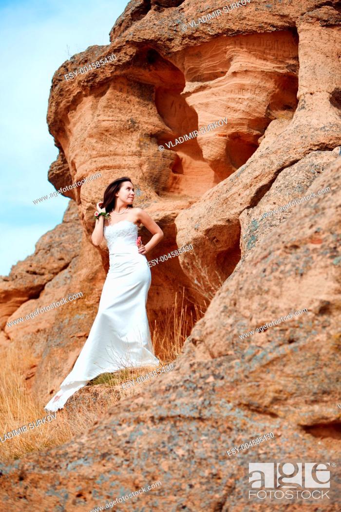 Stock Photo: girl on the mountain.